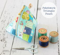 Patchwork Triangle Pouch Sewing Tutorial - A Spoonful of Sugar
