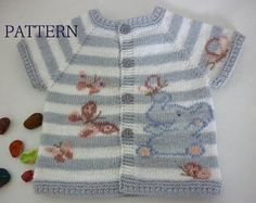 Baby knitting patterns.Knitted baby cardigan.Knit baby vest with Elephant and Butterflies. Pattern baby vest.