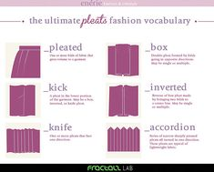 Types of Pleats Infographic from Enerie.Writers continue to reblog these infographics for their useful terminology. If you've missed any here they are:  • Know Your Denim Pockets Infographic Part 1  • Know Your Patch Pockets Infographic Part 2  • Know...