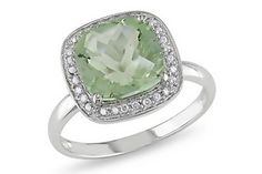 Dazzling Green Amethyst cushion cut ring.