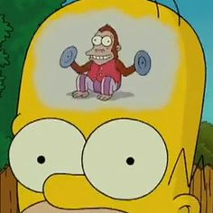 Trump's Base ~ Homer Simpson Monkey Brain The dumbing down of Americans over the last few decades The Simpsons, Simpsons Funny, Cartoon Memes, Cartoon Pics, Monkey Gif, Los Simsons, Simpsons Tattoo, Futurama, Bart Simpson