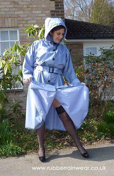 Pale Blue Satin Rubber Raincoat