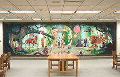 Michael Lehnardt, Children's Mural, 2002.  26 1/2 x 8 ft. Farnsworth Juvenile Literature Library