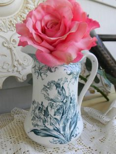 Antique Aesthetic Movement Teal English Transferware Pitcher Parrot Tulips.via Etsy.