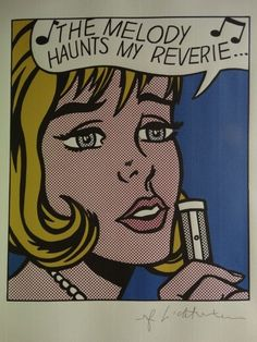 Roy Lichtenstein Lithograph Print - The Melody Haunts My Reverie - Printed Signature On Plate - W.B.