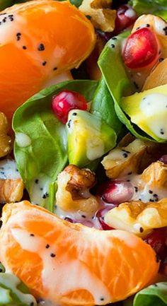 Mandarine Pomegranate Spinach Salad with Poppy Seed Dressing