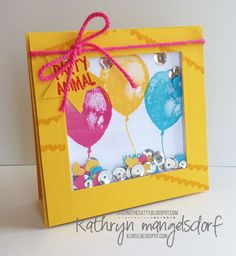 Stampin' Up! Balloon Builders Shaker Card, Birthday Card created by Kathryn Mangelsdorf
