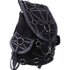 Dark Side Gothic O-rings Denim Black Harness Design Witchcraft... ❤ liked on Polyvore featuring bags, backpacks, backpack bags, goth bags, flap bag, day pack backpack and gothic backpack
