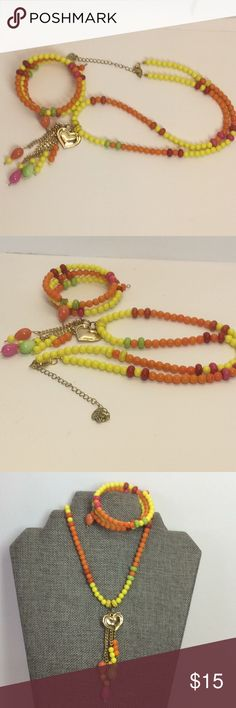 Summer Fun Necklace and Bracelet Set 25 in. Necklace with 3.5 pendant, 4 in.Extender with Made with Love charm, gold tone clasp Handmade by me  Colors - yellow, orange, pink, red, green Matching wrap bracelet mcp Jewelry Necklaces