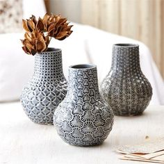 Artisan Studio Patterns Vase in 3 Assorted Designs design by Tozai. Perfect for bookshelf styling or coastal decor. Beach House Decor, Diy Home Decor, Tabletop, Design House Stockholm, Design Vase, Colored Vases, Clay Vase, Ceramic Vase, Vase Centerpieces