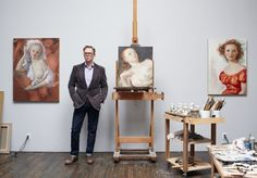 John Currin in his studio.