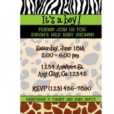 Baby Shower Invitations : Zebra Top Border and Giraffe Bottom Border Theme Baby Shower Invitations with Brown Text Wording Design - Giraffe Print Theme Baby Shower Invitations