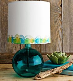 This is a cool look - just watercolor paints on a fabric shade. The technique would work on any fabric.