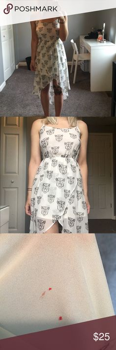 Cat printed dress Cat printed cream dress // size 4 // adjustable straps // small nail polish stain but can not be seen when dress is on and covered by the cat printed material H&M Dresses High Low