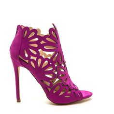 PURPLE To The Petal Caged Faux Suede Heels ($40) ❤ liked on Polyvore featuring shoes, pumps, purple, peep toe shoes, stiletto pumps, stiletto shoes, caged pumps and purple shoes