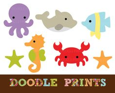 Digital Clip Art Printable - Sea Ocean Clipart Design - Sea Creatures Design - Dolphin, Fish, Crab, Octopus, Seahorse - Personal Use Only