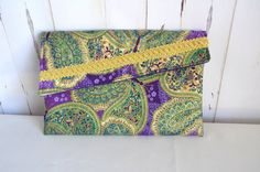 Purple green gold clutch butterfly wallet by RobynFayeDesigns
