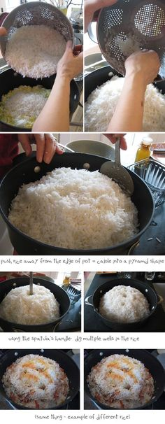 polow-shape-pyramid-dam-kardan-how-to-make-perfect-Persian-steamed-rice-pictures