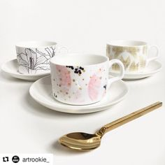 Thanks for the love :) #Repost @artrookie_ with @repostapp ・・・ Repost from our stockist @thehouseoutfit - Stunning new cup and saucer sets now available online in 6 completely different styles  each set comes with its own ceramic spoon too.. ☕️ link in bio!  Featuring designs by Uma and DizzyWonders  @83oranges @dizzywonders . #tea #hightea #coffee #interiors #interiors #instaart #homedecor #home #style #drawing #art #artrookie