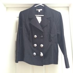 "NWT CAbi jacket 67% rayon, 28% nylon, 5% spandex. New black blazer, size medium. Buttons covered in tissue paper, see 3rd pic for black buttons. Jacket length, 20"". CAbi Jackets & Coats Blazers"