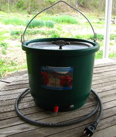A DIY heated chicken waterer.