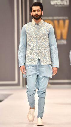 High Fashion Pakistan — Deepak and Fahad, Fashion Pakistan Week, is part of Wedding dress men - Mens Indian Wear, Mens Ethnic Wear, Indian Groom Wear, Indian Men Fashion, Mens Fashion Wear, High Fashion, India Fashion Men, Wedding Kurta For Men, Wedding Dresses Men Indian