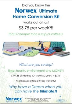 Completely convert your home to a chemical free haven for you and your family with one purchase! Considering the typical Australian home spends between $400 and $600 per year on household chemicals and cleaners - you're already ahead! AND there's a 2yr warranty on the cloths and mop in the kit.