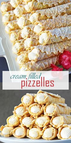Cream Filled Pizzelles (Trubochki) - Olga in the Kitchen Creamy, elegant and beautifully shaped waffle-like pastry filled with the best condensed milk filling. These are very popular during holidays, weddings and all kinds of special events. 13 Desserts, Italian Desserts, Delicious Desserts, Dessert Recipes, Yummy Food, Italian Cookies, Italian Christmas Desserts, Italian Wedding Cookies, Italian Cookie Recipes