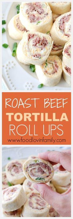 These creamy roast beef tortilla roll ups are a great make-ahead appetizer or lunch. Fast to make and filled with delicious flavors.Perfect for game day, school day, or any day.   http://www.foodlovinfamily.com/roast-beef-tortilla-roll-ups/