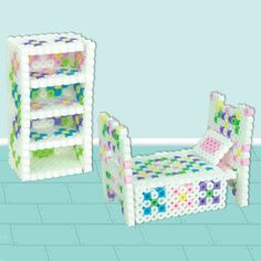 """<p>Create adorable dollhouse furniture in Perler Beads. This project makes a bed with a pretty quilt, and a matching shelf. Use our colors, or change them to match your dollhouse. A great """"Mommy and me"""" activity!</p>"""