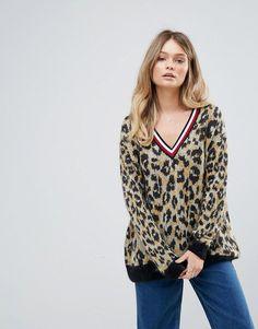 c8d85eb066751 Tommy Hilfiger Deep V Leopard Print Mohair Knit Sweater