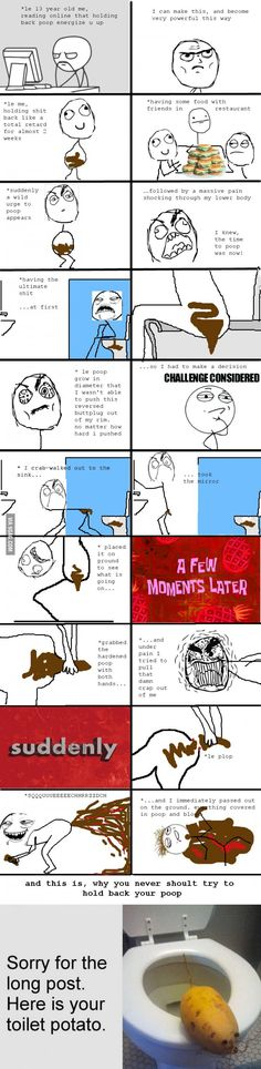 "Many gagers wanted a rage comic of my ""reversed buttplug poop story"". There u go."