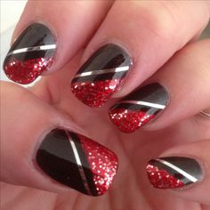 Nail Art - red/silver glitter over black polish with silver stripes