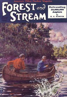 Two men in birch bark canoe with fish on. 1930s Forest and Stream magazine.