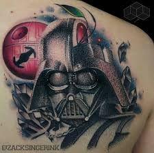 Vadder portrait from Star Wars  Tattoo, May the force be with you, princess leia, luke skywalker, darth vadder, hans solo, chewy, lando, R2D2, C3PO, jabba the hut, lando, death star, yoda, ewaks, obi one kenobi, dark side, wookie, light saber, millennium falcon, Admiral Ackbar, anakin skywalker, at-at walker, bantha, BB-8, boba fettm , Chewbacca,   www.talesofthetatt.com