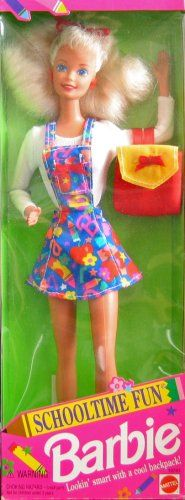 """Schooltime Fun BARBIE Doll Special Edition (1994). Special Edition Schooltime Fun Barbie Doll is a 1994 Mattel production, made in Malaysia. Includes: Barbie Doll approx. 11.5"""" tall w/blond hair & blue eyes. Barbie wears red Earrings, a red Finger Ring, a white long sleeve Top, a Jumper that's blue w/orange, red, green, pink, purple & yellow print w/red bow on bib, a red w/yellow Back Pack, & a pair of Sneakers. For Ages 3+ Years. All provided Sizes, Colors & Details are approximate, to the…"""