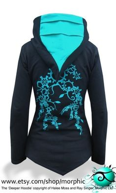 Womens Deeper Zip Hoodie Black with Turquoise Cogs by Morphic