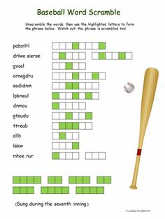 Baseball Word Scramble