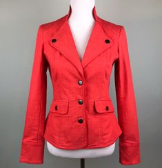 4016dc0e J. Peterman Red Stretch Blazer Jacket Size 4 Tailored Cut Pleated Back