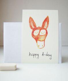 Happy Birthday orange donkey card