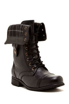 CA Collection by Carrini Plaid Lining Combat Boot on HauteLook #lovelovelove #foldover #combatboots