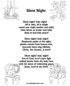 """Silent Night"" music lyrics free printable 