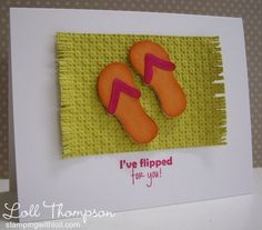 "Crafter used the Summer Starfruit cardstock to create a ""beach mat"". Then embossed it to give it a woven texture and then cut a fringe at each end.  I used Spellbinder's Shapeabilities - Surf's Up! for the flip-flops and added a perfect beach-y sentiment from Amy R."