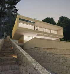 The Oslo House is placed on a mountainside, in a residential state surrounded by pine trees and vegetation. The dwelling is composed of two overlapped Ramones, Oslo, Technical Architect, Floor Slab, Architect Magazine, Architect House, Common Area, Alicante, Ground Floor