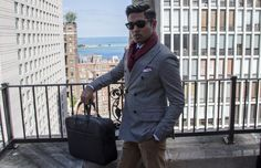 Menswear Blogger and Menswear Style, Double Blazer jacket and European Scarf detail