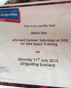 Safe Space training cert