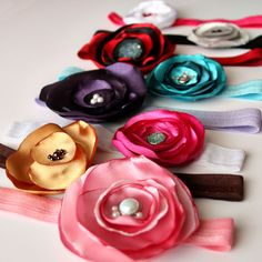 handmade satin flower headband set