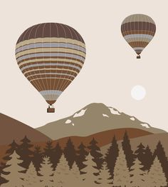 Balloons over the mountains Bedroom Wall Art