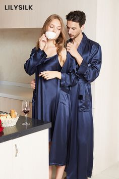 Grade A 100% Mulberry Silk Sleepwear Sets for Couple. #silk #silkpajamas #hisandher