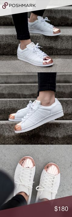 Adidas superstar rose gold copper metal toe white *Brand new *Authentic *Box not included *Size 8 but run half size bigger could be for 8.5 too Adidas Shoes Sneakers